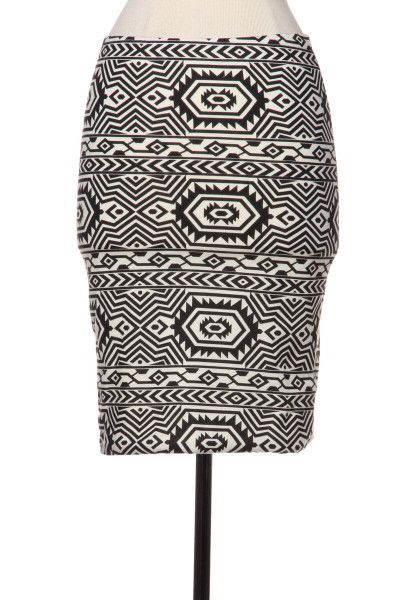 Southwest Quest Tribal Print Skirt - Black + Cream