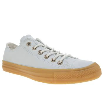 Converse Pale Blue All Star Gum Ox Womens Trainers Pastel perfection arrives fresh from Converse in a cloud of powder blue. The All Star Gum features a smooth fabric upper, joined with bronze eyelets and white woven laces. Tonal branding appears at th http://www.MightGet.com/january-2017-13/converse-pale-blue-all-star-gum-ox-womens-trainers.asp