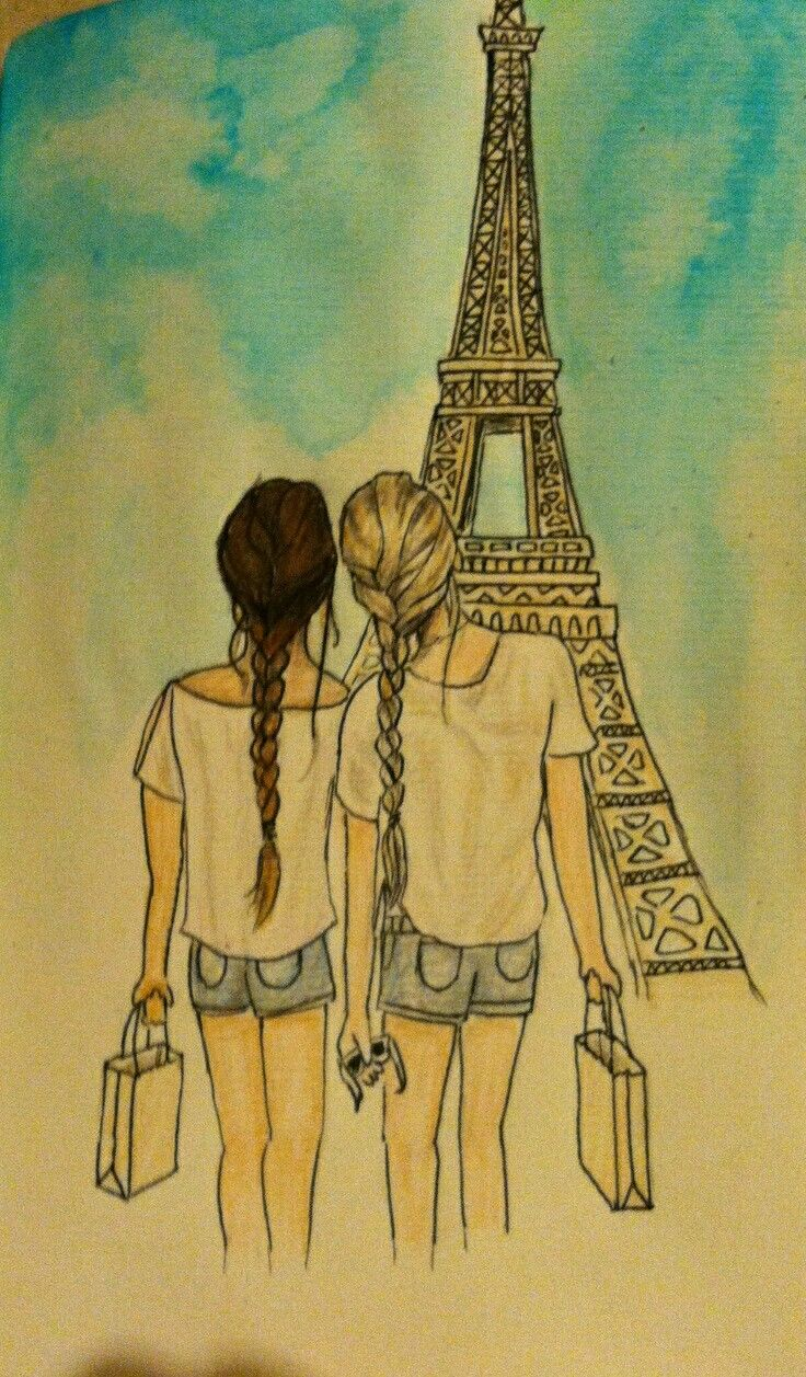 BFFs in Paris Reminds me of myself and my BFF if we ever went to Paris