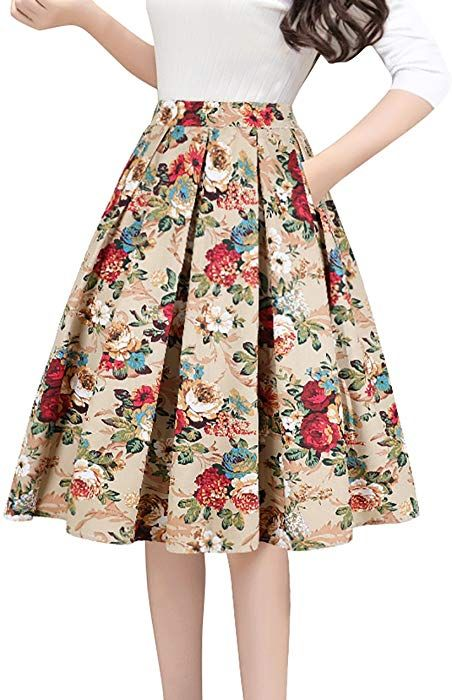 cfb48ddf3 Tandisk Women's Pleated Vintage Skirt Floral Print A-line Midi Skirts with  Pockets Gold Flower XL at Amazon Women's Clothing store: