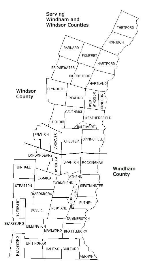 (Council on Aging for Southeastern VT) Windham & Windsor Counties (Except for towns of Bethel, Rochester, Royalton, Sharon, Stockbridge. Includes towns of Searsburg, Readsboro, Thetford and Winhall)