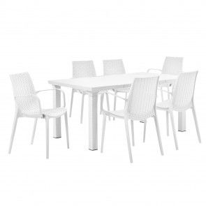 [casa.pro]® Tavolo da giardino con 6 sedie con braccioli - mobili in ottica rattan 438,80 €