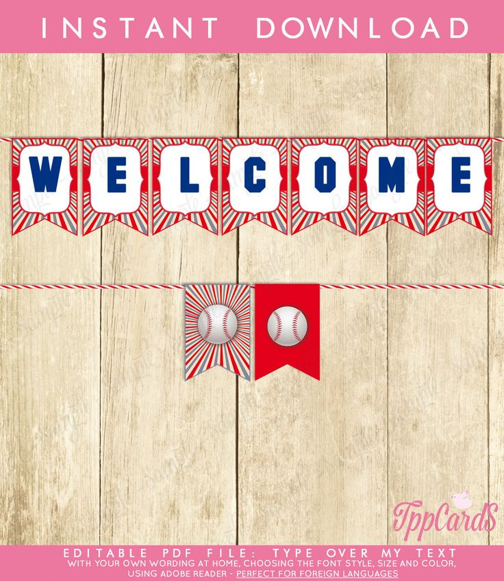 New to TppCardS on Etsy: Instant Download Baseball Birthday Banner Baseball Bunting Banner Blue Red Grey Baseball Party Banner Welcome Baseball Banner (4.50 EUR)