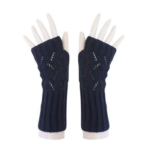 Women's Fingerless Black Vegan Gloves