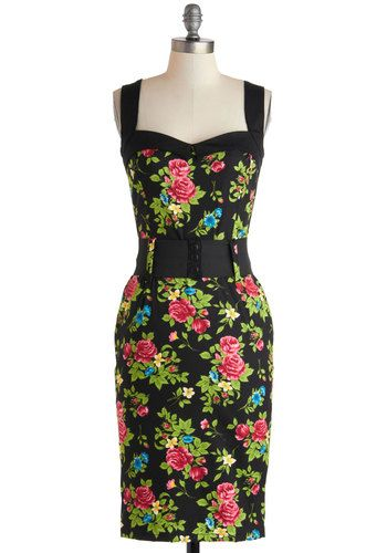Cool Vibes Dress in Floral - Floral, Long, Cotton, Multi, Belted, Party, Bodycon / Bandage, Sleeveless, Sweetheart, Black, Wedding, Cocktail, Pinup, Vintage Inspired, 40s, 50s, 60s, Variation