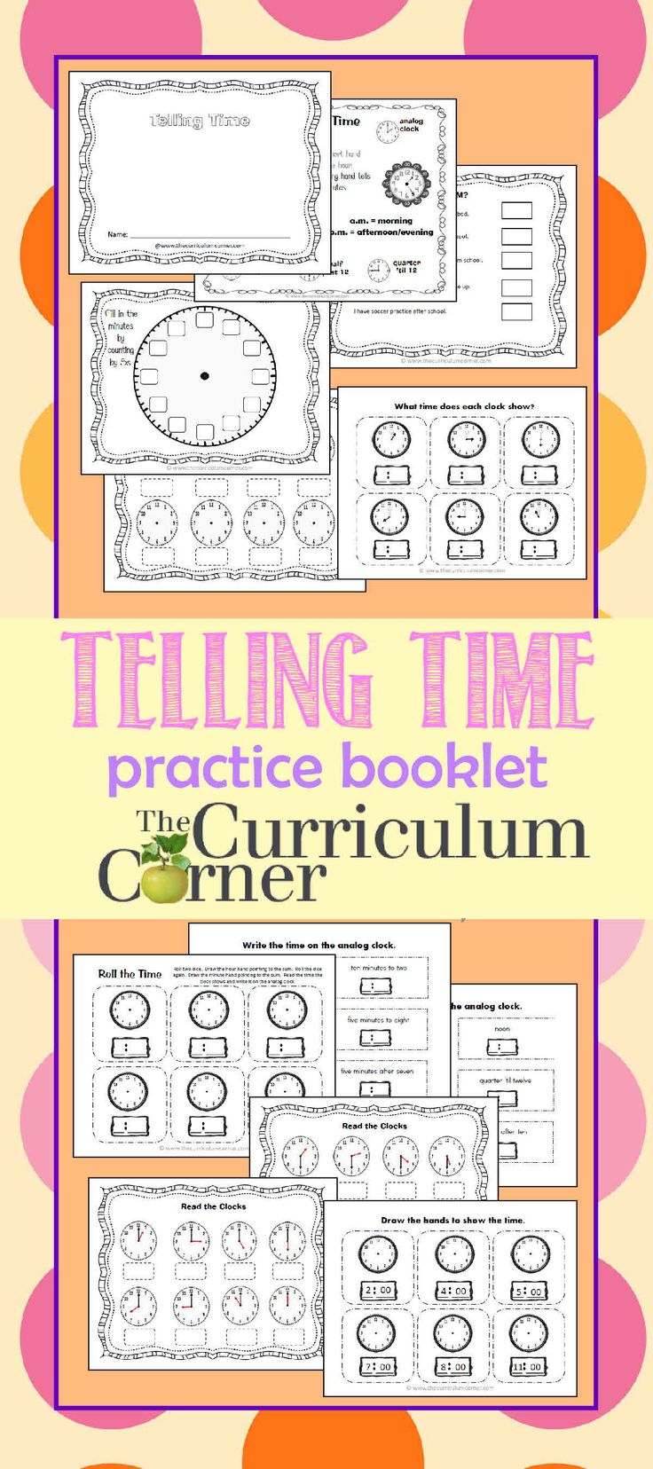 Worksheet Kindergarten Curriculum Free 1000 ideas about kindergarten curriculum on pinterest telling time practice booklet free from the corner