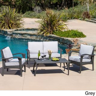 @Overstock   Christopher Knight Home Honolulu Outdoor 4 Piece Wicker  Seating Set And Cushions