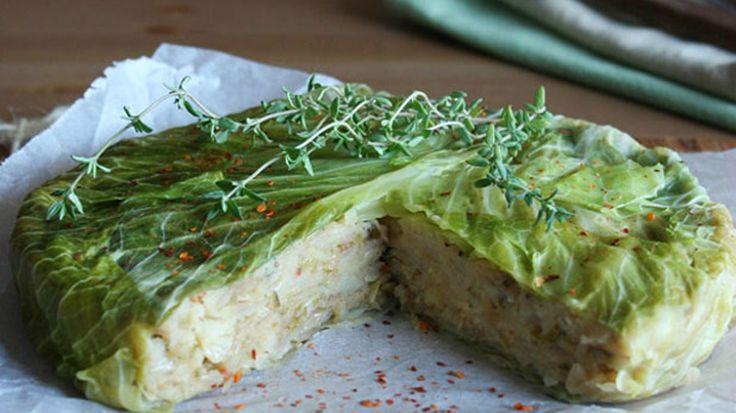 Torta di patate e foglie di verza