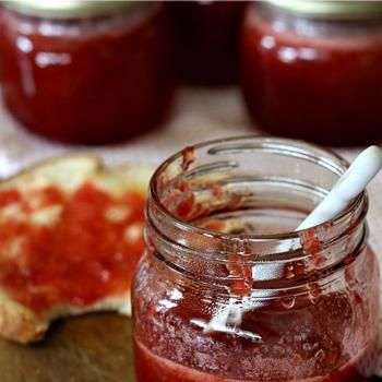 I made this Strawberry jam on Sunday (6/29).  It is AWESSOME. I put some on Breyer's all-natural vanilla ice cream and YUMMY. Try it..you will love it. What a wonderful recipie.