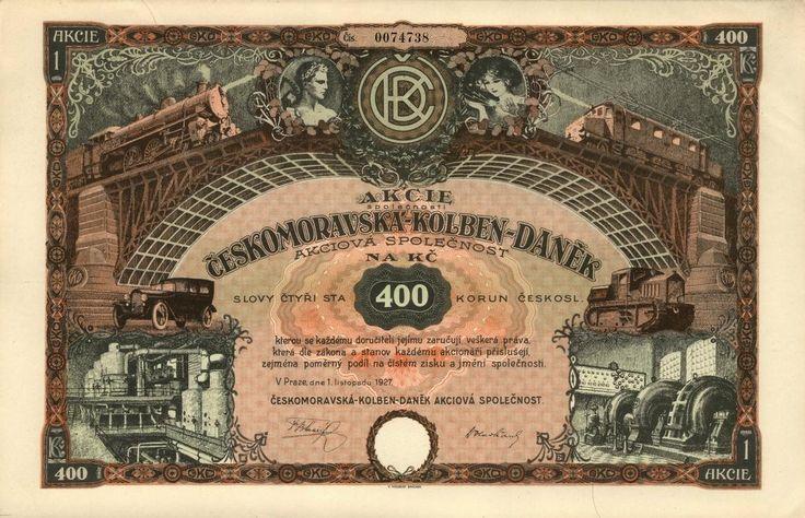 Českomoravská-Kolben-Daněk akc. spol. (Böhmisch-Mährische Kolben-Danek AG.). Akcie na 400 Kč. Praha, 1927. Další info: https://www.facebook.com/HistorickeCennePapiry/