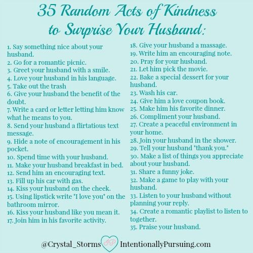 Random Acts of Kindness to Surprise Your Husband - IntentionallyPursuing.com
