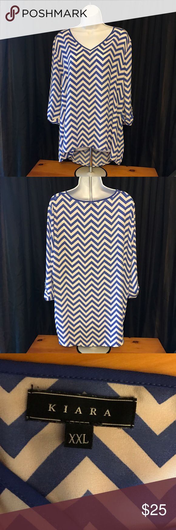 Blue and White Chevron Top Super fun and cute chevron top. In great condition. Size XXL. Tops Blouses