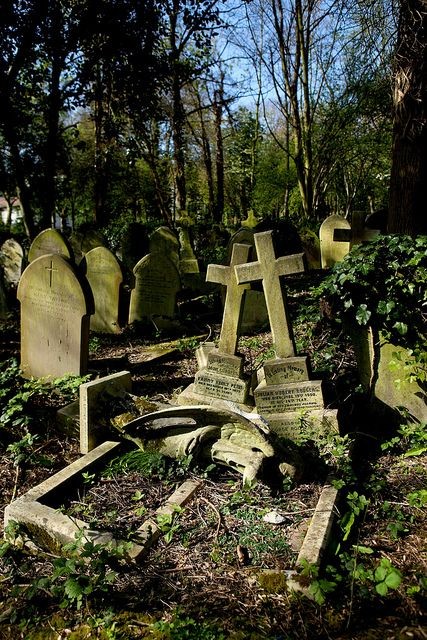 turbulent times in Highgate Cemetery, London by poorvincent on flickr
