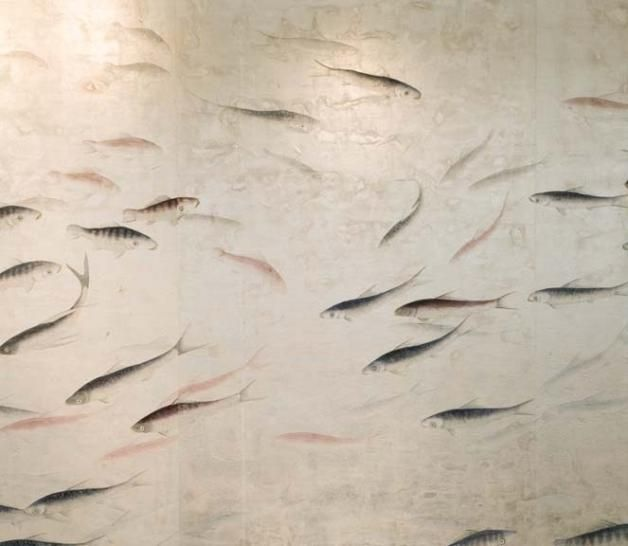 De Gournay's hand painted koi wallpaper...