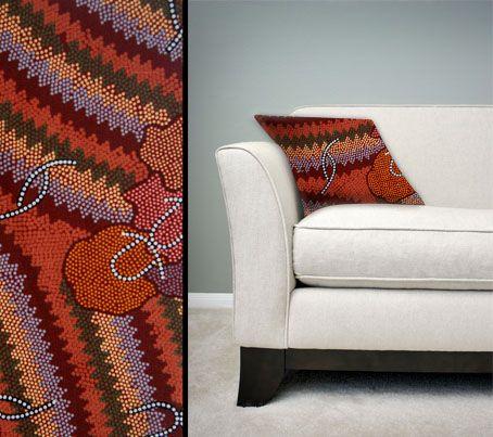Design:  Women's Corroboree Size: 50cm square - 100% cotton - zip Australia Made Code: CUSH-BUL07 Price: $30.00