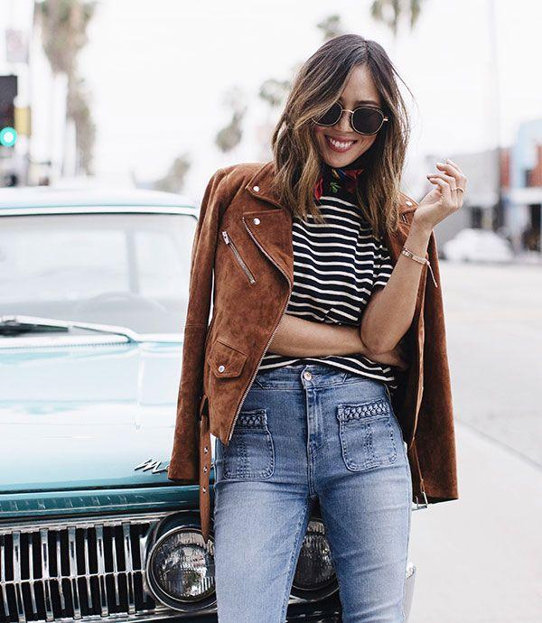 aimee song t-shirt listras calça jeans jaqueta suede