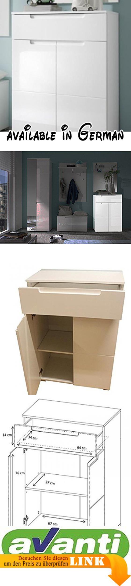 B01M1DVWG6 : AVANTI TRENDSTORE - SPILLA - Schuhkommode mit 1 Schublade und 2 Türen weiß / weiß Hochglanz Dekor ca 70x101x40cm. Avanti Trendstore. Schuhkommode: Korpus: weiß Front: weiß Hochglanz Dekor. Ausstattung: 1 Schublade 2 Türen mit einem Einlegeboden. Versand und Montage: Artikel wird zerlegt geliefert Montageanleitung  Schrauben inklusive. Maße: ca. BHT 70x101x40cm