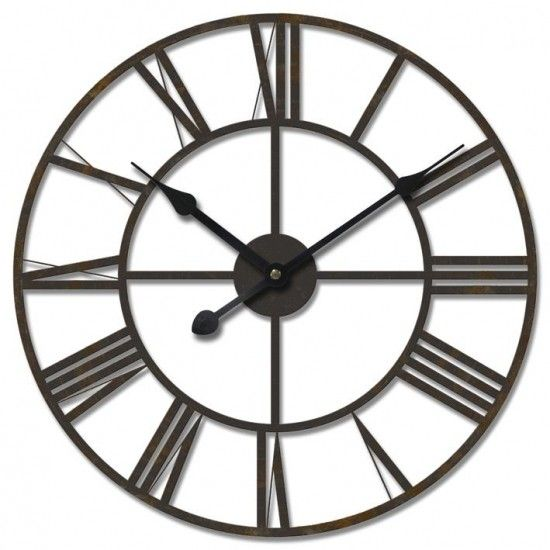 Huge Wrought Iron Roman Numerals Wall Clock Metal Wall