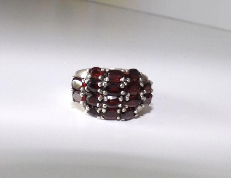 Bo14 Ring, siber, mit echtem Granat, rot, Gr. 15 Edelstahl, Edelsteine, Trapez,