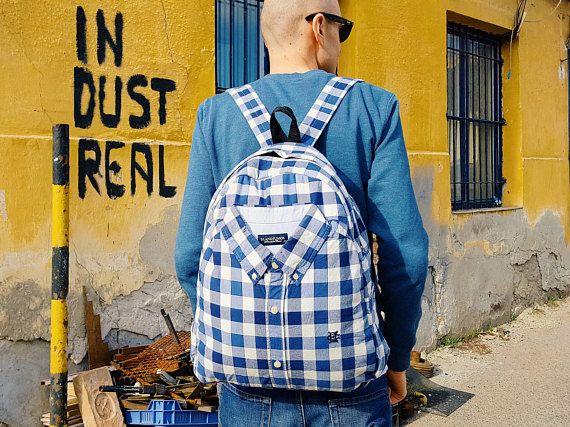 Blue backpack satchel backpack mens rucksack school backpack