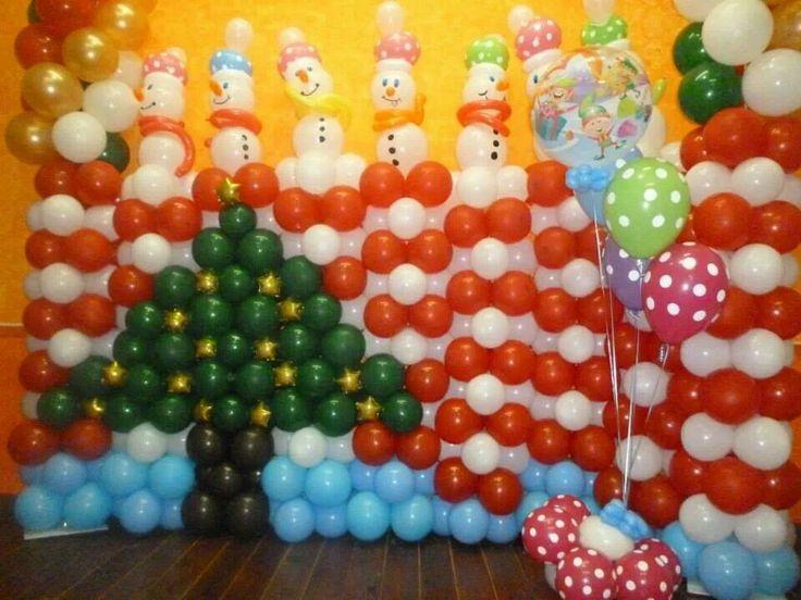 Mural navide o hecho con globos globos y maquillaje - Murales decorativos de navidad ...