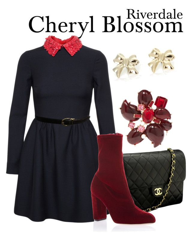Cheryl Blossom Riverdale by sparkle1277 on Polyvore featuring polyvore, fashion, style, Valentino, Oscar Tiye, Chanel, Oscar de la Renta, Ralph Lauren and clothing