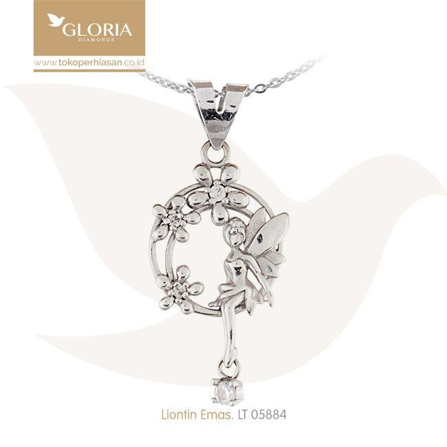 Liontin Emas Putih Bentuk Peri Variasi Bunga. #goldpendant #goldstuff #gold #goldjewelry #jewelry #pendant #perhiasanemas #liontinemas #tokoperhiasan #tokoemas