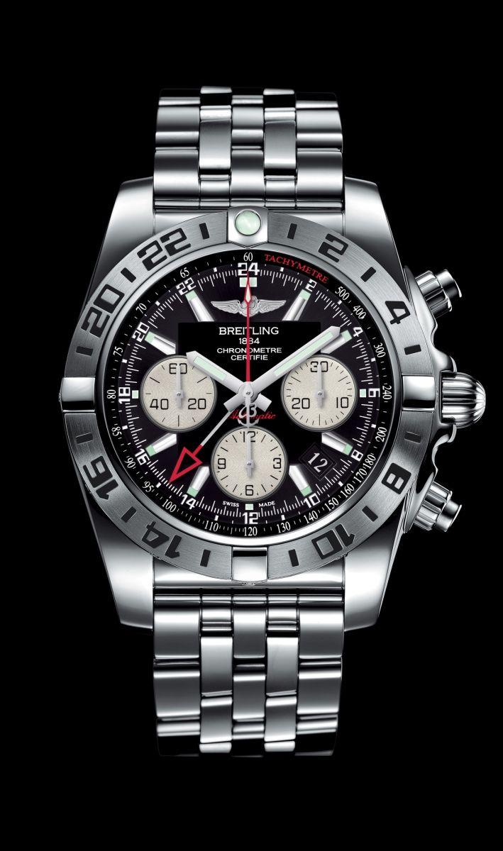 NEW Chronomat 44 GMT traveler's watch by Breitling - Steel case, onyx black dial, steel Pilot bracelet.