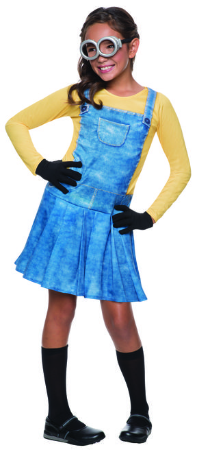 Toddler Female Minion Costume - Let your little one join in on the Minion fun with this officially licensed, Female Minion costume from the Minion Movie. It comes with sublimated dress with goggles and gloves. This Minion costume will have your little one looking for their next Villain master in no time. Great for Halloween, watching Minions or Despicable Me, themed parties or part of a group costume. #YYC #Calgary #costume #Minions #DespicableMe