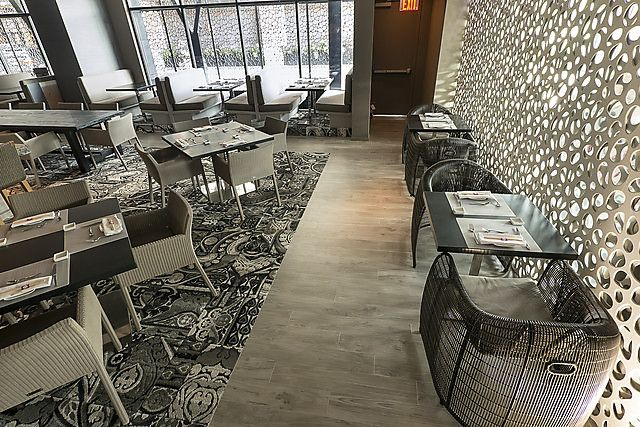 FLOR / All Dolled Up - Grey / Nara Sushi / Houston, TX / Elevate the dining experience by bringing the glitz and the glam into any restaurant with our grey patterned carpet squares.