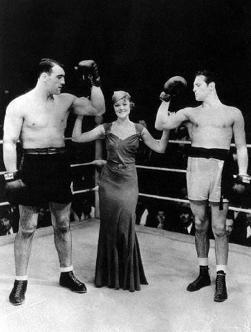 Actress Myrna Loy With Primo Carnera & Max Baer~Wow my great grand dad fought Max Baer.