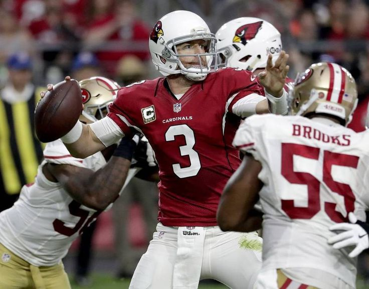 49ers vs. Cardinals:  23-20, Cardinals  -  November 13, 2016  -     Arizona Cardinals quarterback Carson Palmer (3) throws as San Francisco 49ers outside linebacker Ahmad Brooks (55) pursues during the second half of an NFL football game Sunday, Nov. 13, 2016, in Glendale, Ariz.