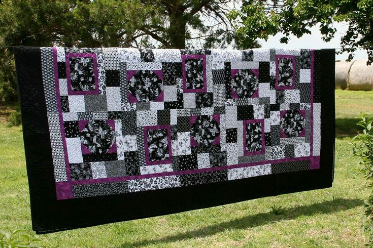 Black white and purple quilt