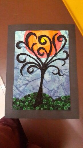 A3 wall deco piece... iris folding sun, distress inking sky and quilled tree and grass....