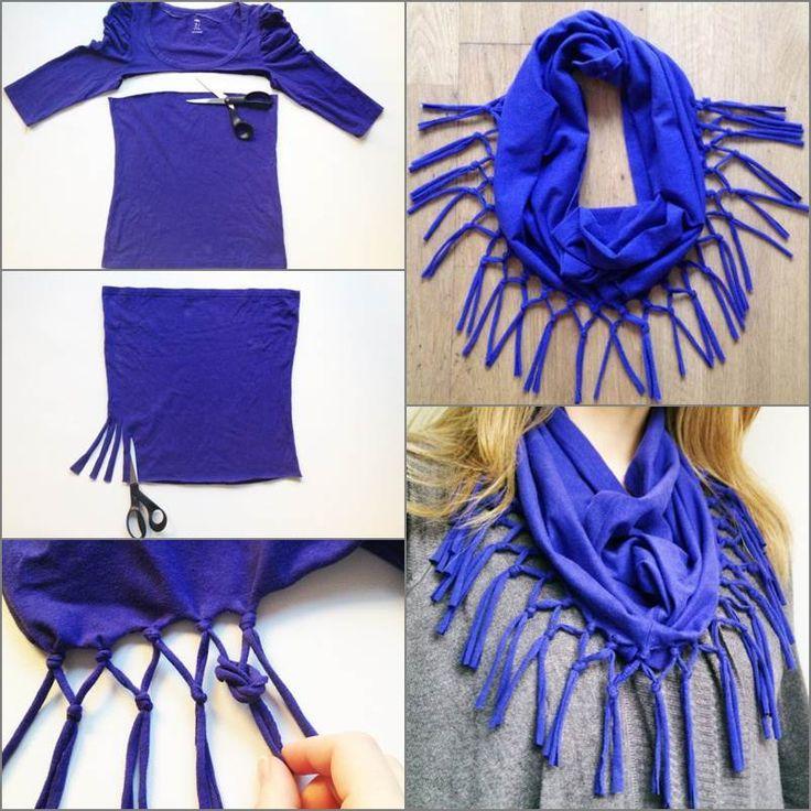 Habt Ihr auch schon einige  alte Sommer T-Shirts aussortiert ?   Hier ist  ein super gute Idee, sie in einen Schal umzugestalten....