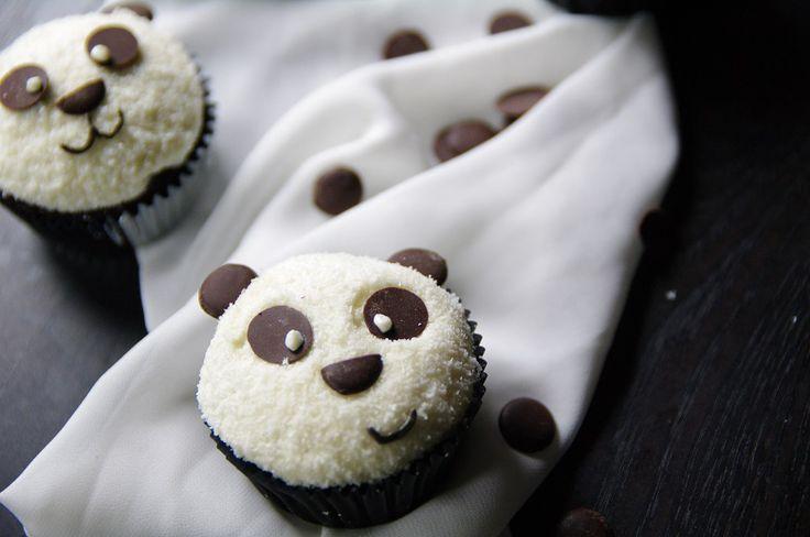 Panda Cupcakes Schokolade, Kokos, weiße Schokolade