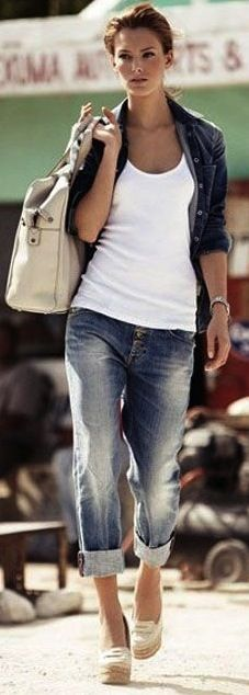 boyfriend jeans, basic tank and heels! Perfection  Recreate this look at www.urbansmooch.com