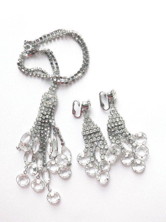 Vintage jewellry. Rare, designer, crystal Necklace earring set  $148.00