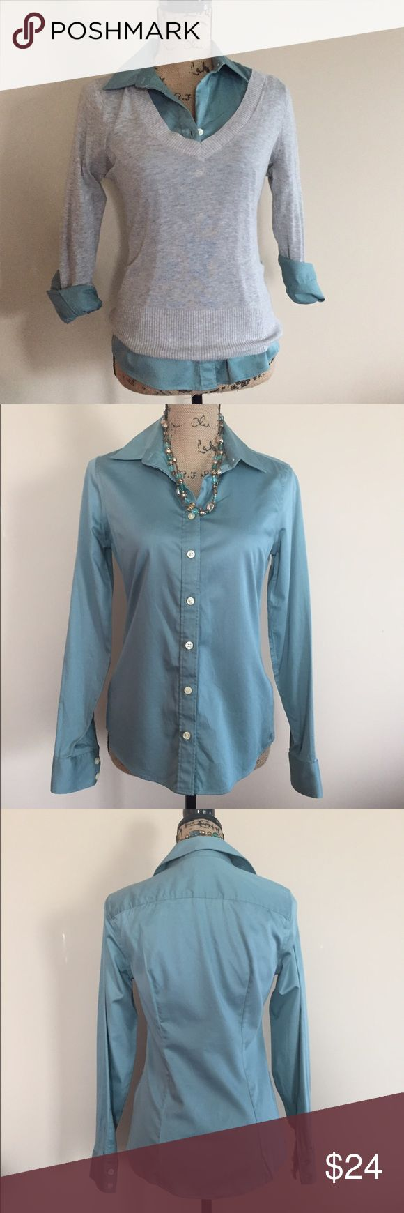 """Banana Republic non iron shirt Pretty muted teal sateen button down shirt from Banana Republic. Non iron, fitted, gentle stretch. Size 4. Excellent condition. Bust measures 17"""", length 24"""". 97% cotton, 3% Lycra spandex. Banana Republic Tops Button Down Shirts"""