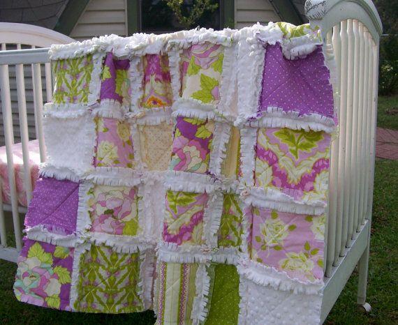 Crib Rag Quilt Purple Lilac Baby Quilt Minky Baby Girl Crib