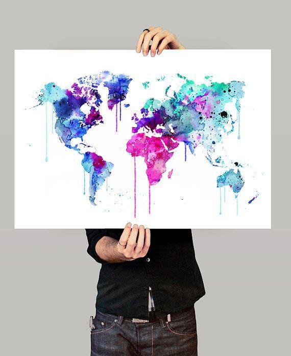 Colorful Watercolour World Map Art Print Watercolor Art Watercolor Print World Map Print Waterco World Map Art Water Color World Map Watercolor Map