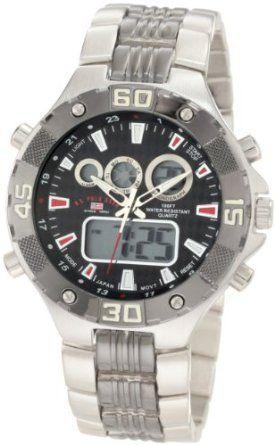 U.S. Polo Assn. Sport Men's US8208EXL Analog-Digital Dial Extra Long Silver-Tone and Gun Metal Watch