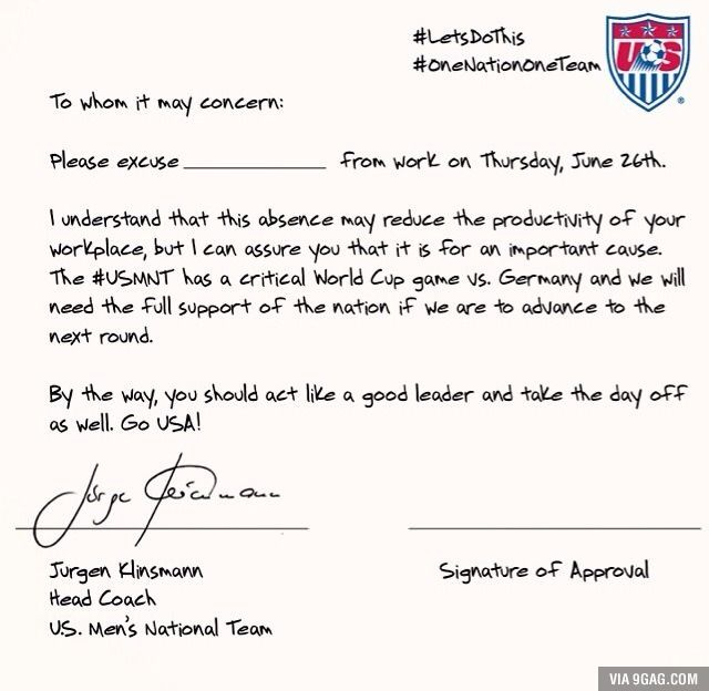The US National Team just posted this for the upcoming US vs Germany game