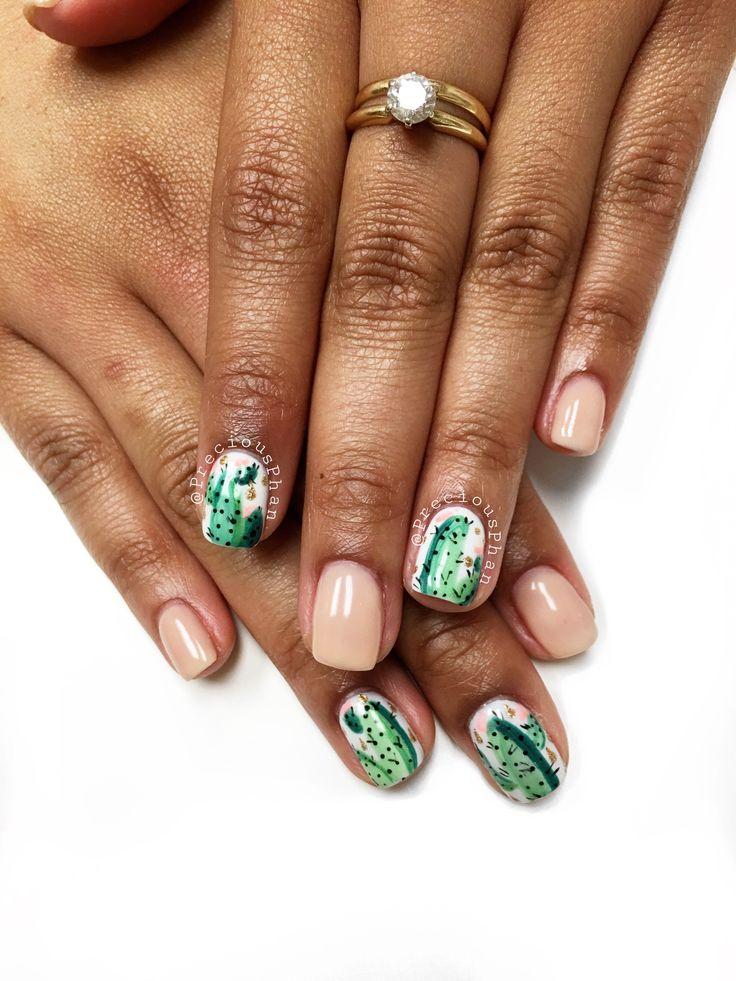 Phoenix Arizona. Desert. Nude nails. . Cactus nails. #PreciousPhan