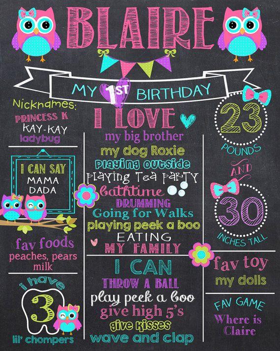 Owl First Birthday Chalkboard Owls Milestone Owl by PrincessSnap