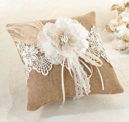 Burlap & Lace Ring Pillow #theweddingoutlet
