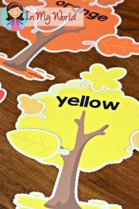 FREE Autumn / Fall Preschool Centers tree and leaves colour sort