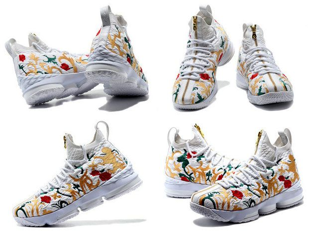 premium selection b3d9f 9293d Cheapest And Latest New Arrival March Kith X Nike Cheap LeBron 15 Floral  White