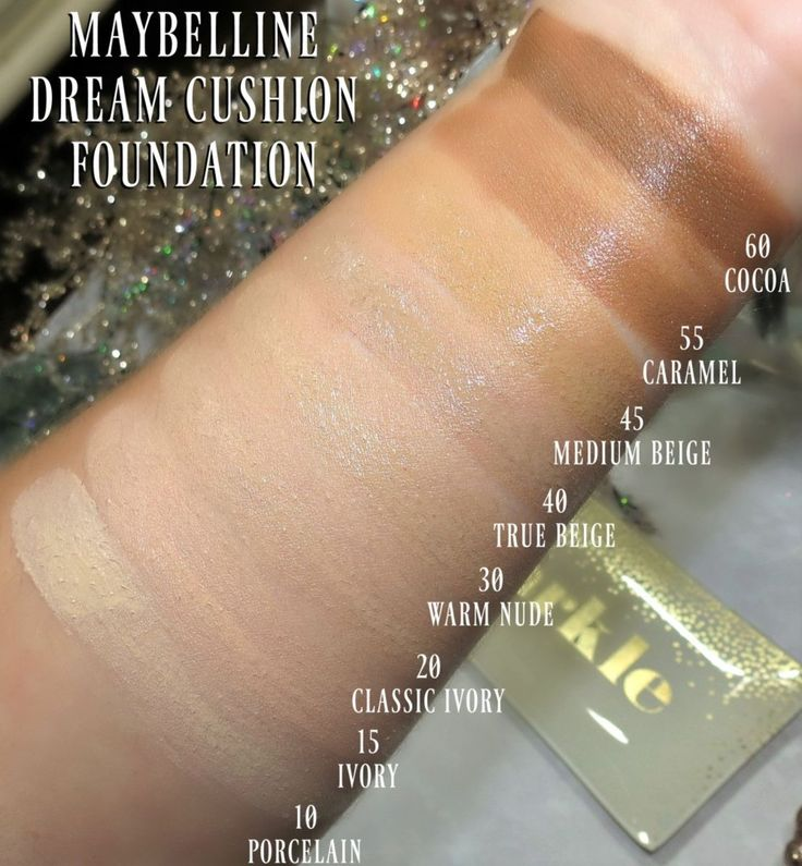Swatches of the Maybelline Dream Cushion Foundation