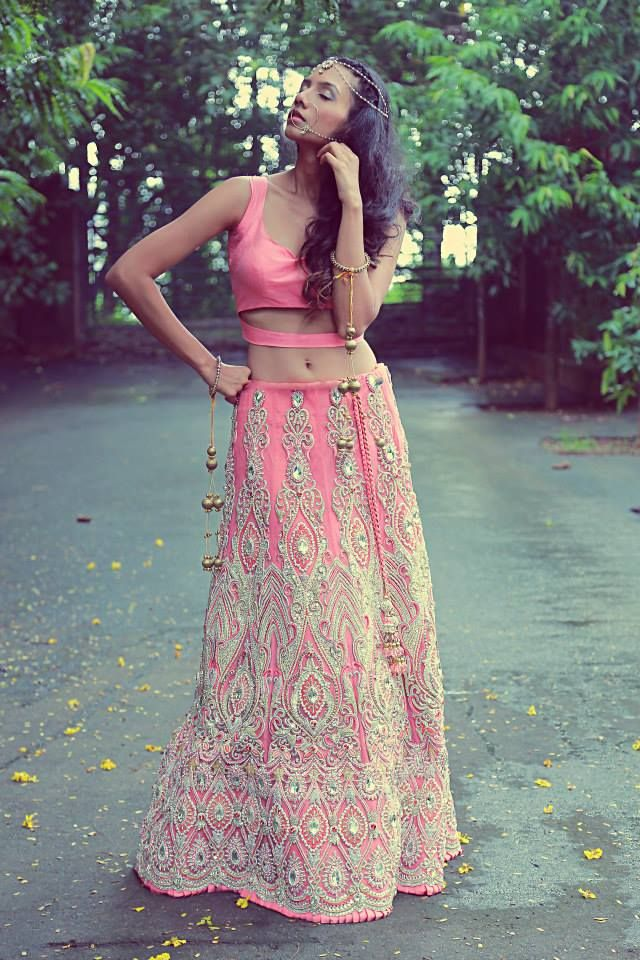 Stunning Pink Embroidered Bridal #Lehenga By Reneé.